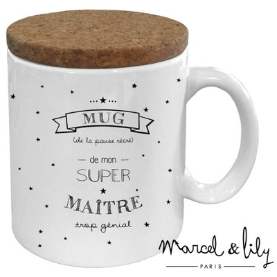 "Mug couvercle liège ""Super maître"""
