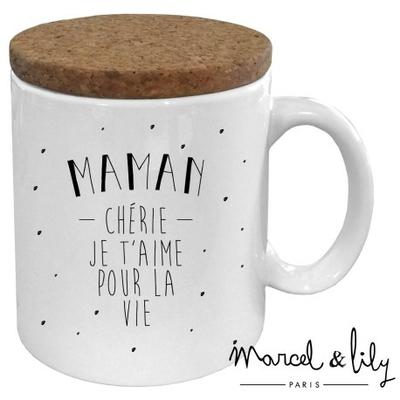 "Mug couvercle liège ""Maman chérie"""