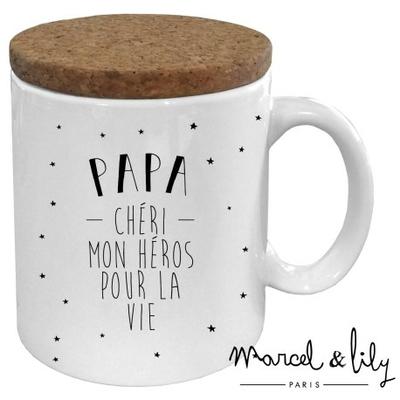 """Mug couvercle liège """"papa chéri"""""""
