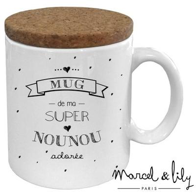 """Mug couvercle en liège """"nounou"""""""