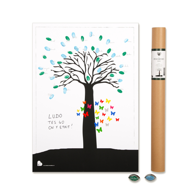 """Affiche à empreintes """"Baobab"""" (Kit affiche + 2 encreurs)"""