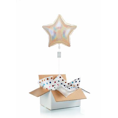 """Ballon """"surprise"""" gonflé à l'hélium : étoile argentée"""