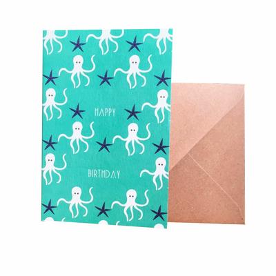 """Carte d'anniversaire """"happy birthday"""" avec des poulpes"""