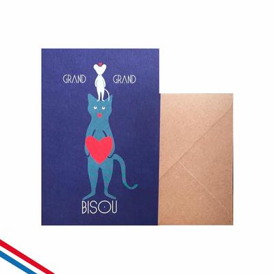 """Carte """"grand bisou"""" avec le chat et la souris"""