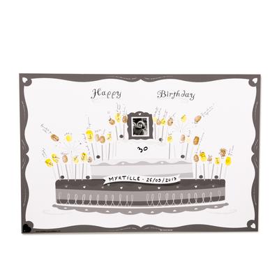 """Affiche à empreintes """"gateau d'anniversaire"""" (kit affiche + 2 encreurs)"""