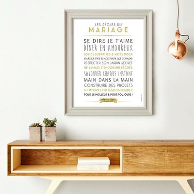 """Affiche à personnaliser """"les règles du mariage"""""""