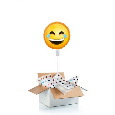 """Ballon """"surprise"""" gonflé à l'hélium : """"Emoji"""" rires"""