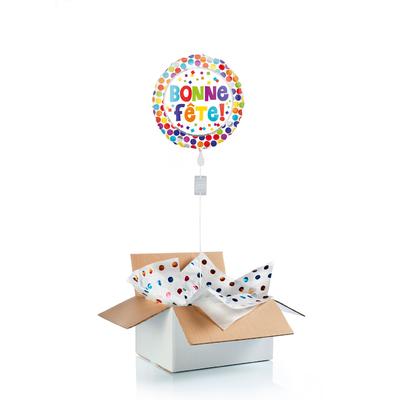 """Ballon """"surprise"""" gonflé à l'hélium : """"bonne fête"""""""