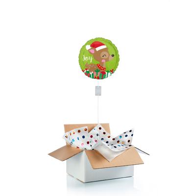 """Ballon """"surprise"""" gonflé à l'hélium """"Petit renne de Noël"""" et porte-bonheur"""