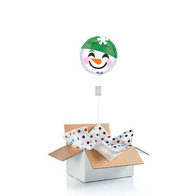 """Ballon """"surprise"""" de noël gonflé à l'hélium : """"Emoji bonhomme de neige"""""""