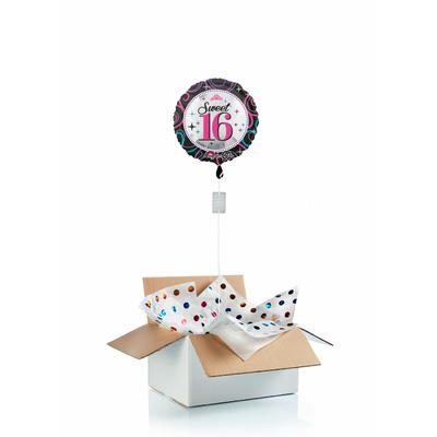 """Ballon surprise gonflé à l'hélium : """"sweet sixteen"""" - anniversaire 16 ans"""