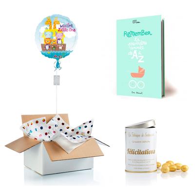 """Cadeau de naissance """"ballon surprise + livre de souvenirs + bonbons 100% pur félicitations"""""""