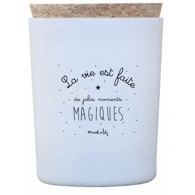 """Bougie """"La vie est faite de jolis moments magiques"""" - Pistache / Amande"""