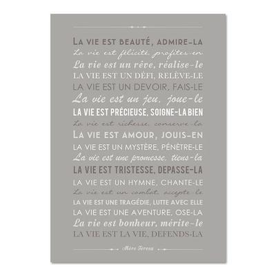 """Carte d'inspiration """"la vie est beauté"""" de Mère Teresa"""