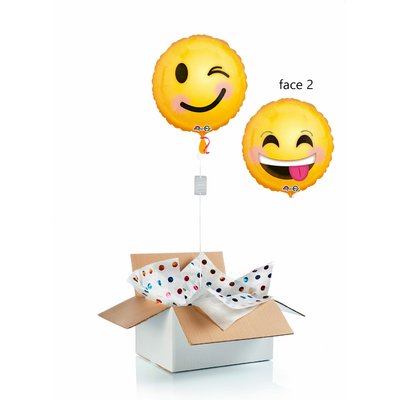 Ballon surprise hélium emoji clin d'oeil