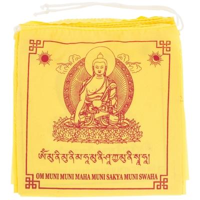 10 drapeaux de prière Bouddha Sakyamuni