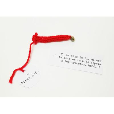 Message de remerciement à une maitresse ou un maitre, à détricoter - fil rouge du destin
