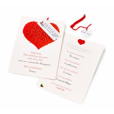 Cadeau maitresse : carte à compléter + message à détricoter