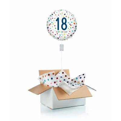 """Ballon d'anniversaire gonflé à l'helium """"18 ans"""" blanc et pois"""