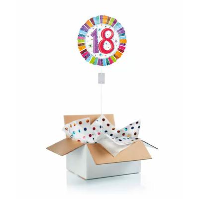 """Ballon d'anniversaire gonflé à l'helium """"18 ans"""" multicolore"""