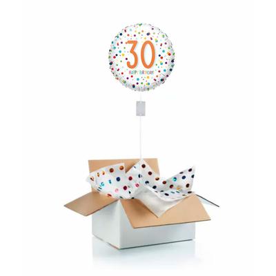 """Ballon d'anniversaire """"surprise"""" gonflé à l'hélium : 30 ans blanc et pois"""