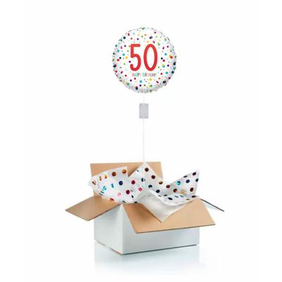 """Ballon d'anniversaire """"surprise"""" gonflé à l'hélium : 50 ans blanc et pois"""