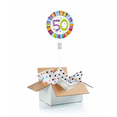 """Ballon d'anniversaire """"surprise"""" gonflé à l'hélium : 50 ans multicolore"""