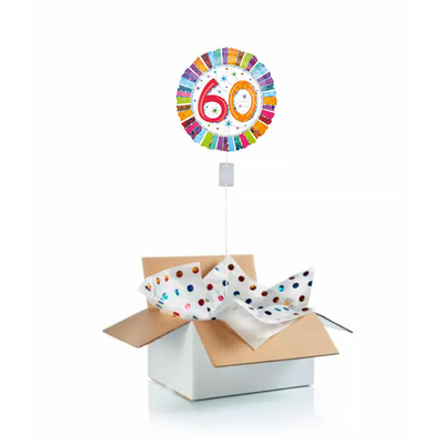 """Ballon d'anniversaire """"surprise"""" gonflé à l'hélium : 60 ans multicolore"""