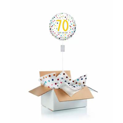 """Ballon d'anniversaire """"surprise"""" gonflé à l'hélium : 70 ans blanc et pois"""