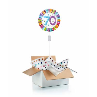 """Ballon d'anniversaire """"surprise"""" gonflé à l'hélium : 70 ans multicolore"""