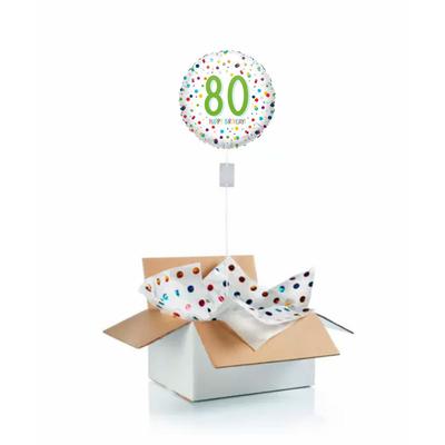 """Ballon d'anniversaire """"surprise"""" gonflé à l'hélium : 80 ans blanc et pois"""