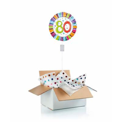 """Ballon d'anniversaire """"surprise"""" gonflé à l'hélium : 80 ans multicolore"""