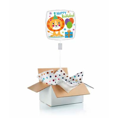 Ballon anniversaire enfant gonflé à l'hélium : lion