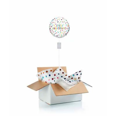 """Ballon d'anniversaire """"surprise"""" gonflé à l'hélium """"Joyeux anniversaire"""" pois"""