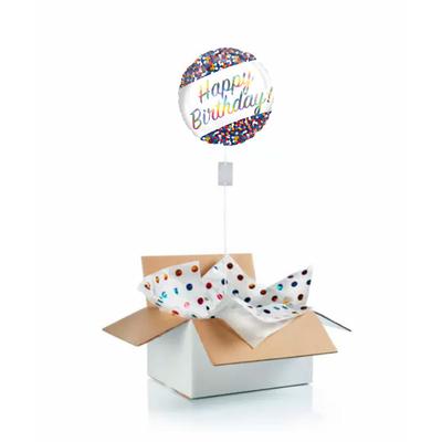 """Ballon d'anniversaire """"surprise"""" gonflé à l'hélium : bandeau - confettis"""