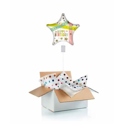"""Ballon d'anniversaire """"surprise"""" gonflé à l'hélium : étoile et rubans"""