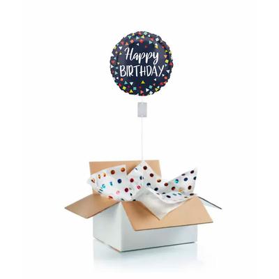 """Ballon d'anniversaire """"surprise"""" gonflé à l'hélium : fond noir et triangles multicolores"""