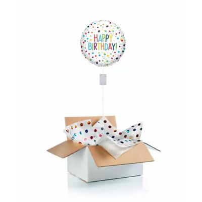 """Ballon d'anniversaire """"surprise"""" gonflé à l'hélium : happy birthday fond blanc et pois"""