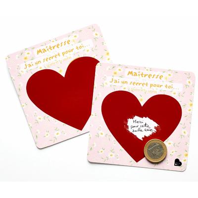 """2 cartes à gratter """"Maitresse, j'ai un secret pour toi..."""""""