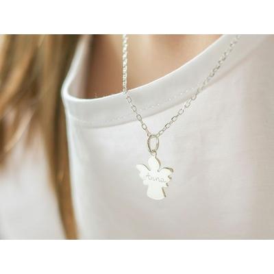 Collier cadeau de baptème / communion croix, ange ou colombe, gravure personnalisée