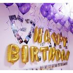 """Happy Birthday"" en lettres dorées gonflables"