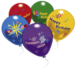 10 ballons d'anniversaire multicolores