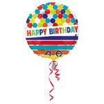 """Ballon gonflable d'anniversaire géant """"Happy Birthday"""" pois et rayures"""