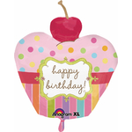 "Ballon gonflable géant en forme de cupcake ""happy birthday"""