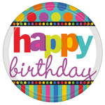 "6 assiettes jetables ""happy birthday"""
