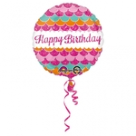 """Ballon d'anniversaire  """"happy birthday"""" rose brillant"""