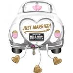 """Ballon géant gonflable en forme de voiture """"just married"""""""
