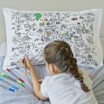 """Taie d'oreiller """"mappemonde"""" à colorier"""