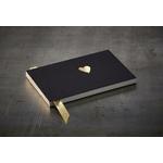 """Petit livre d'or noir """"coeur d'or"""" 15,5 x 10.5 cm"""