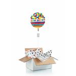 """Ballon d'anniversaire """"surprise"""" gonflé à l'hélium : bulles et rayures"""
